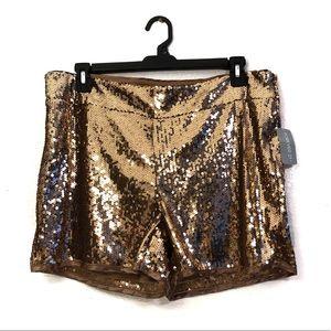 Forever 21 + NWT Bronze Sequin Festival Shorts